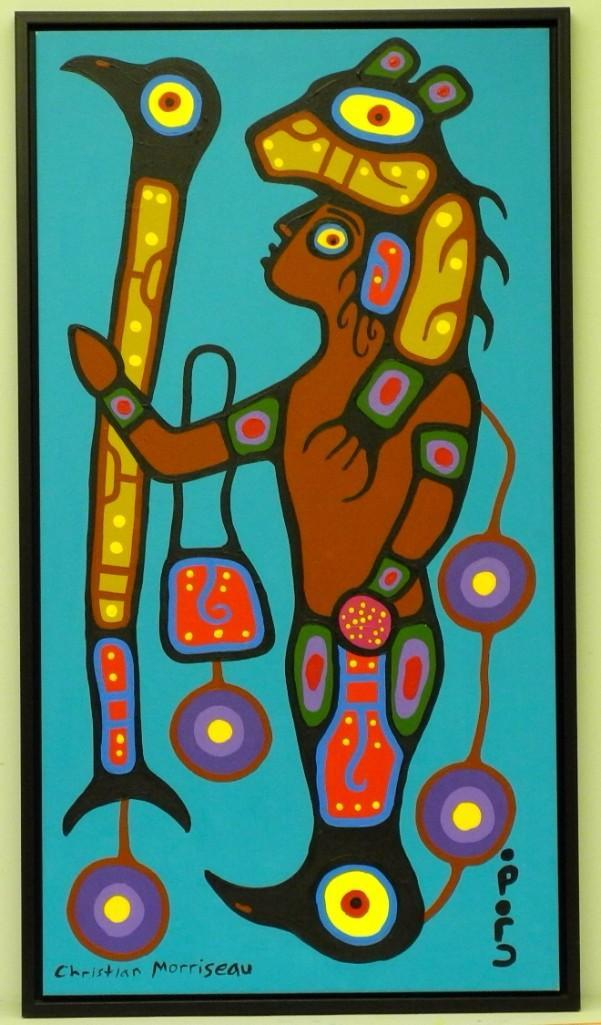 Artist: Christian Morrisseau (1969-) Title: 'Ojibway Shaman' Signed in Cree Syllabics and English. Signed in English and dated au verso. Titled au verso. Medium: Acrylic on Canvas. Size: 48