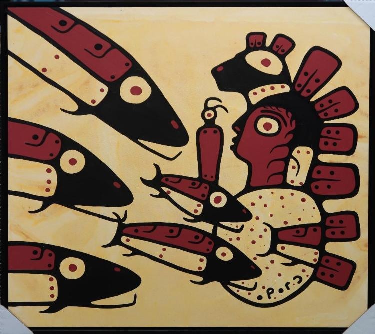 Christian Morrisseau (1969-) 'Astral Plane Run' Signed in Cree Syllabics and English. Signed and Dated in English au verso. Acrylic. 34.25