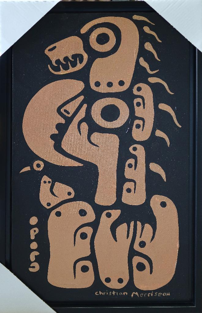 Christian Morrisseau (1969-) Astral Healer. Signed in Cree Syllabics and English. Signed and Date in English au verso. Titled au verso. Acrylic. 34