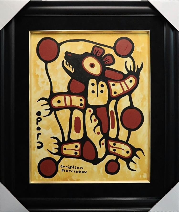 Christian Morrisseau (1969-) 'Woodland Bear ' Signed in Cree Syllabics and English. Acrylic on Canvas/Board (Framed) 28x22 inches. Artist's Studio. Created under the exclusive agreement with Auction Network Management. Appraised Value: $3,050.00 CAD.