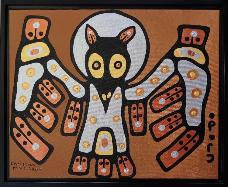 Christian Morrisseau (1969-) Wisdom in the Feathers. Signed in Cree Syllabics and English. Signed and Date in English au verso. Acrylic. 23