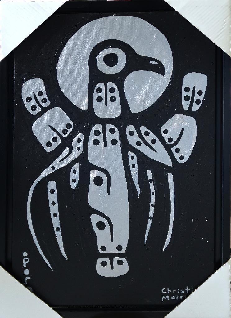 Christian Morrisseau (1969-) Singing Night Crow Dancing. Signed in Cree Syllabics and English. Signed and Date in English au verso. Acrylic. 33.25