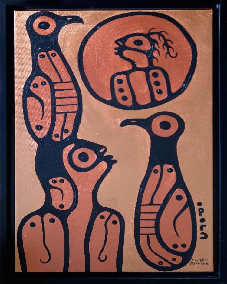 Christian Morrisseau (1969-) 'Little boy in the Moon' Signed in Cree Syllabics and English. Signed and Dated in English au verso. Acrylic. (Framed) 33