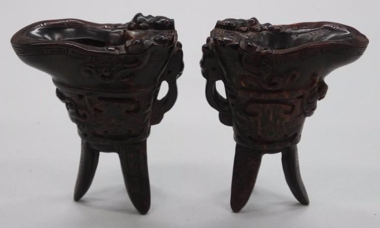 Pair 'Horn Vessels' Hand Carved - APPEAR TO BE 3
