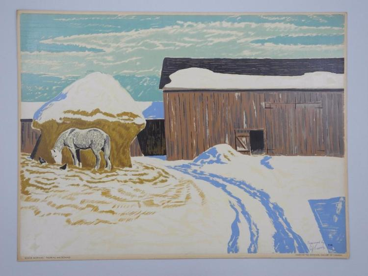 Thoreau MacDonald (1901-1989). 'Winter Morning, 1944' Serigraph on Board. 20