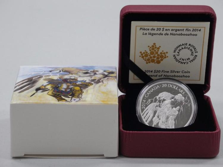 2014- $20.00 .9999 Fine Silver Native Coin 'Legend of Nanaboozhoo' 'Thunderbird's Nest' Low Mintage