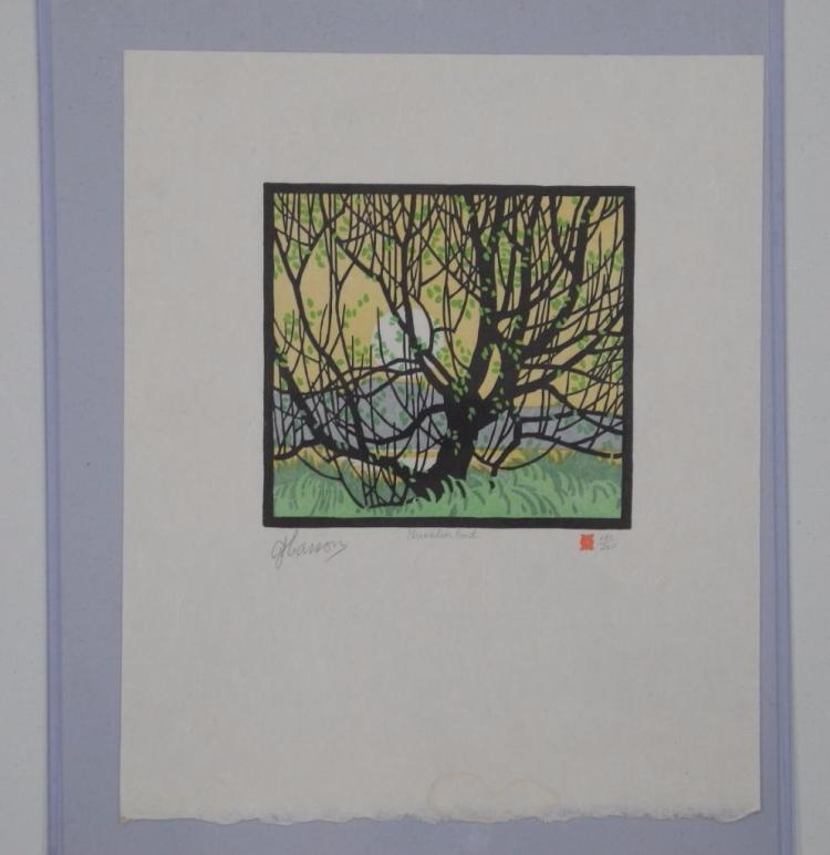 A.J. Casson (1898-1992) Original Lino Block 'Grenadier Pond' Paper - 9x9 Image 5x5 Multiple Original with Full Siganture. Audited Cert of Authenticity and Art Appraisal: $4500.00. Estimate: $1500.00-$2500.00