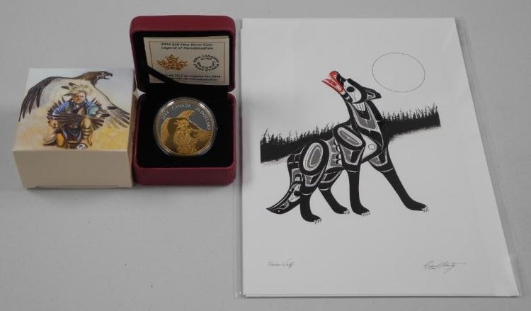 RCM - 2014 .9999 Fine Silver $20.00 Coin 'Legend of Nanboozhoo' Thunderbird. with 24kt Gold overlay. Estimate: $70-$115.00. LE/COA and Art Card by 'Richard Shorty'