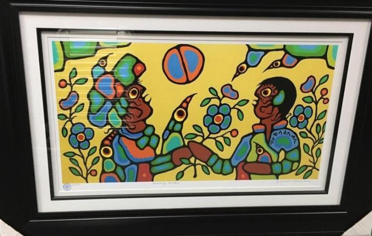 Norval Morrisseau (1931-2007) 'Heavenly Brothers' Plate Signed - Cree Syllabics. #1 Giclee. Family Seal. Gallery Frame. Estimate: $400-$600.00