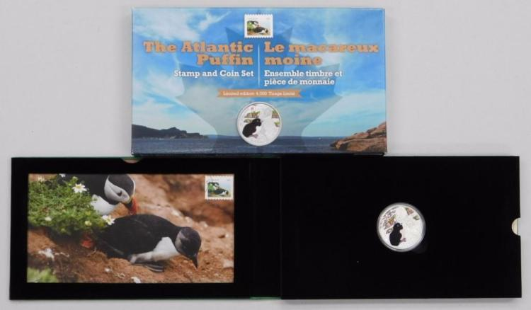 RCM - 'The Atlantic Puffin' Stamp and Coin Set, LE with C.O.A. .9999 Fine Silver $20.00 Coin, Collector Stamp. Art Card, Foil Stamp Folder. Estimate: $50-$100.00
