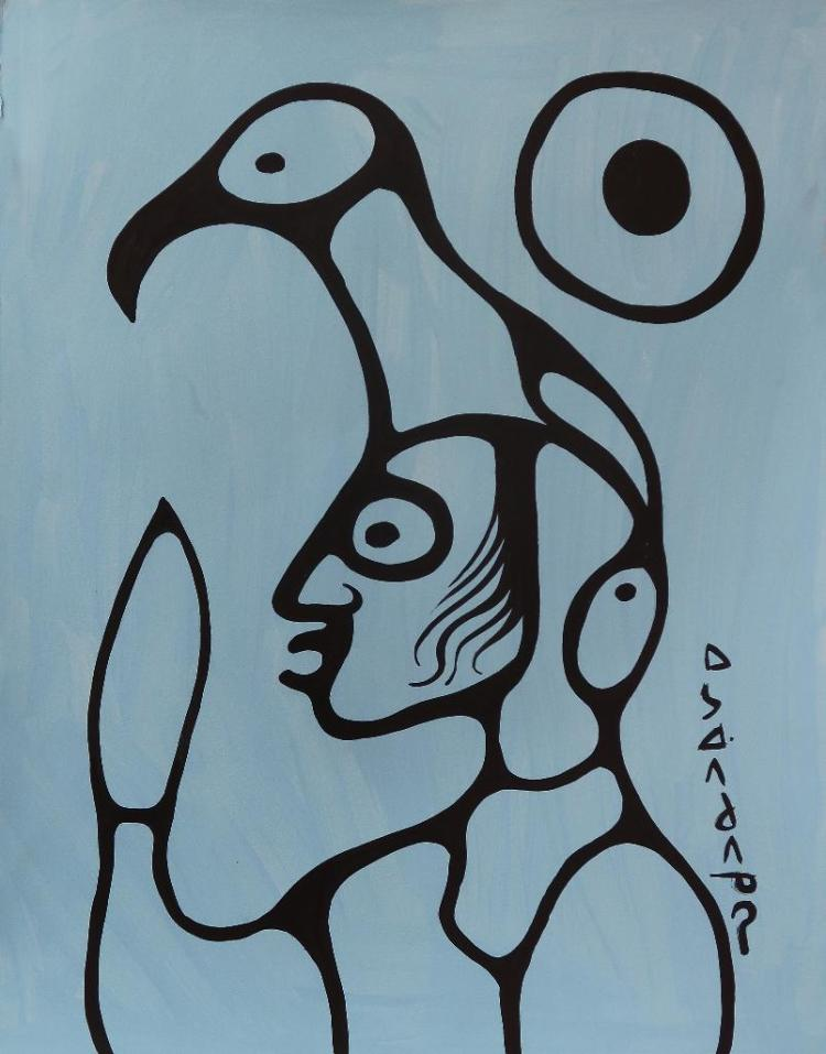 Norval Morrisseau (1932-2007) Untitled (Transparency) Signed in Cree Syllabics Copper Thunderbird. Signed and Date in English. Acrylic on Paper. 30