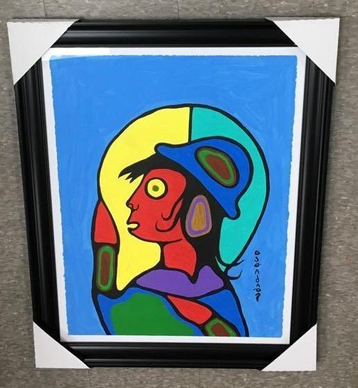 Norval Morrisseau (1932-2007) Untitled (Grandson) Signed in Cree Syllabics Copper Thunderbird. Signed and Date in English. Acrylic on Paper. 30