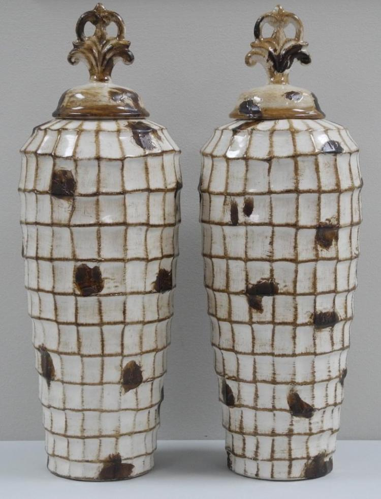Pair - 'Sherwood' Fine Porcelain Covered Decor Vase 18