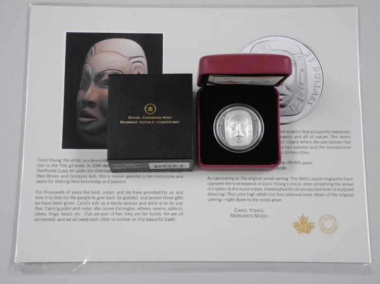 RCM .9999 Fine Silver 2014 $25.00 Coin 'Matriarch Moon Mask' Artist - 'Carol Young' Low Mintage. LE with C.O.A. Estimate: $90-$150.00