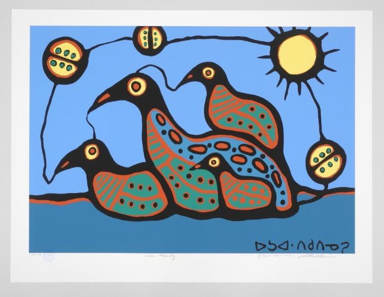Norval Morrisseau (1931-2007) Giclee 'Loon Family' 24x32