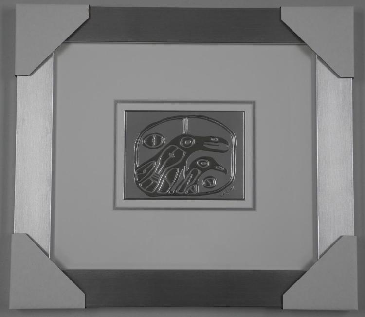 Norval Morrisseau (1931-2007) Sterling Silver Motif 'Birds Traveling Between Dimensions' Plate Signed in Cree Syllabics. Gallery Frame 17x19