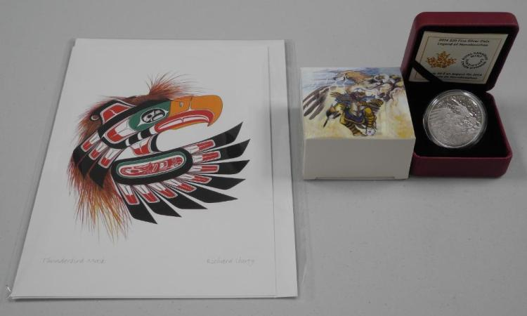 RCM - 2014 .9999 Fine Silver $20.00 Coin 'Legend of Nanboozhoo' Thunderbird's Nest. LE with C.O.A. and Art Card by 'Richard Shorty' Estimate: $60-$100.00