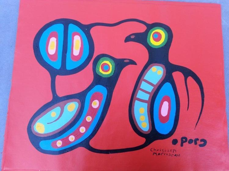 Christian Morrisseau (1969-). 'Young Brothers Kyle M. & Josh Kg' Signed in Cree Syllabics and English. Signed and Dated. Acrylic on canvas. 19