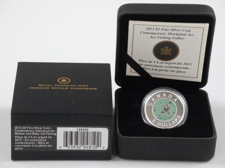 RCM 2013 - .9999 Fine Silver Coin Contemporary Aboriginal Art - 'Ice Fishing Father' LE with C.O.A. Estimate: $100-$130.00