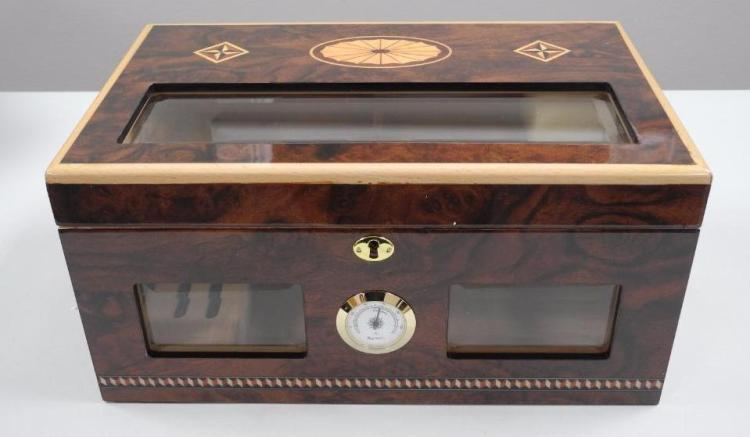 Executive Desktop Humidor 100ct with Gauges, Cedar Lined, Piano Finish. 17x12x9. Estimate: $400-$550.00