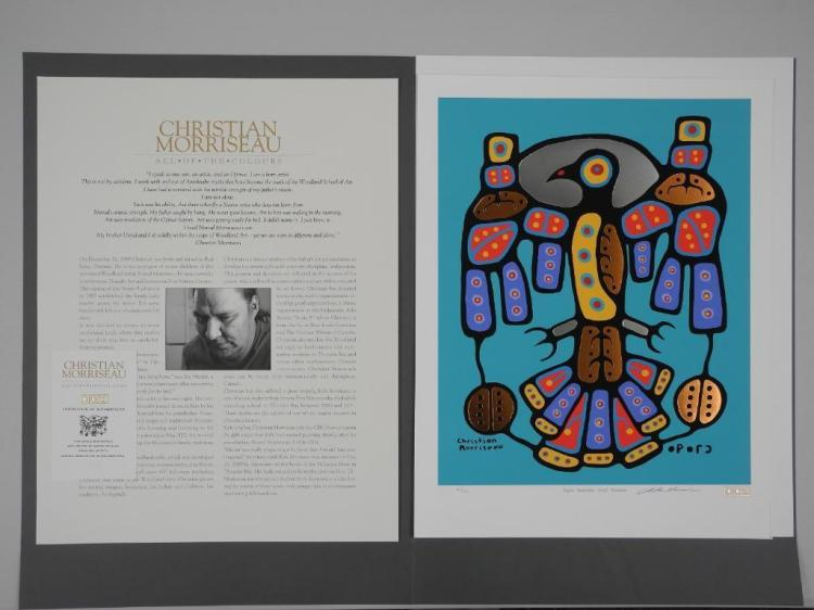 Christian Morrisseau (1969-) Serigraph Folio Circa 2016 'Copper Thunderbird, Norval Morrisseau' 17x22 . Low Edition 45 Worldwide. Signed, Sealed with 24kt Gold Cree Syllabics. Sterling Silver Leaf Embossed Presentation Folder with BIO and C.O.A.