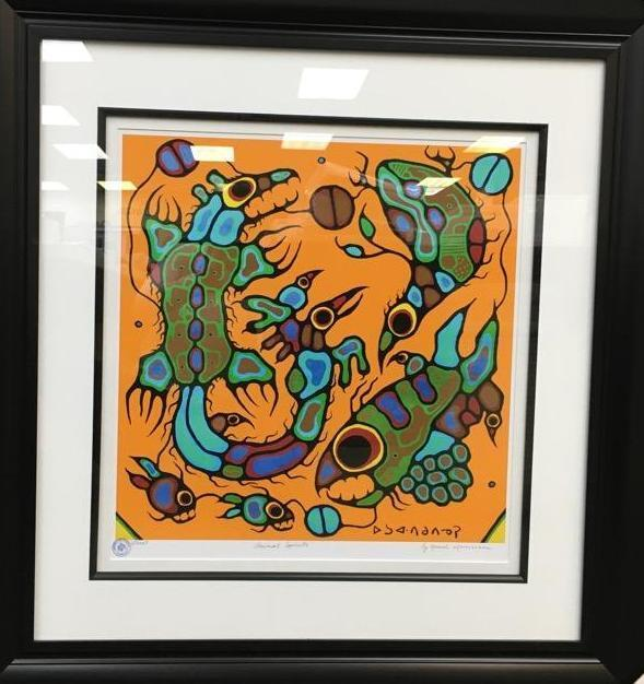 Norval Morrisseau (1931-2007) 'Animal Spirits' Plate Signed - Cree Syllabics. #1 Giclee. Family Seal. Gallery Frame. Estimate: $350-$450.00