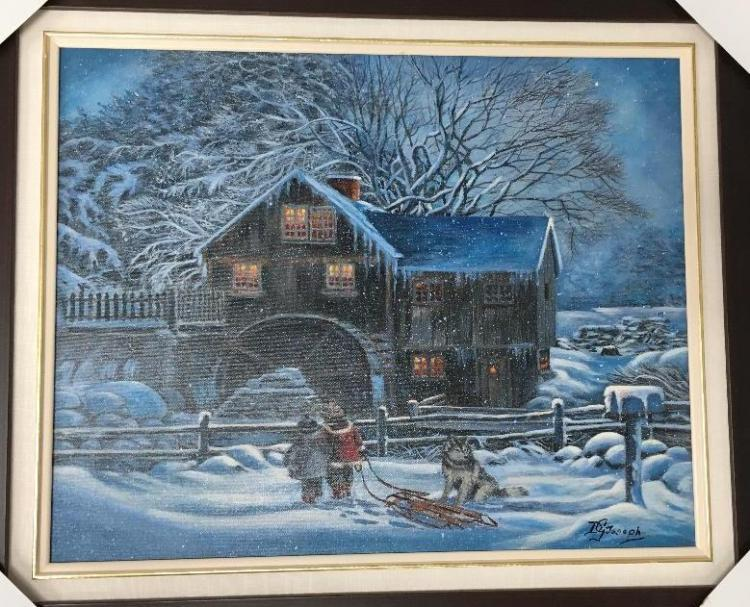 'DG Joseph' - Cookstown, Canada. Original Acrylic on Canvas 'Winter Fun' Signed, Gallery Frame. Framed - 25.5