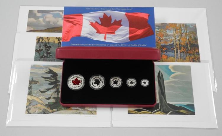 RCM - Canada .9999 Fine Silver 'Maple Leaf' 5 Coin Set and 6- Canadian Group of Seven. Art Cards. Estimate: $200-$350.00