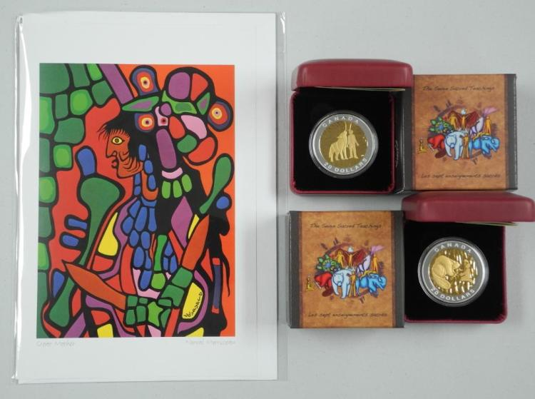 Set (2) RCM - 2014 .9999 Fine Silver $20.00 Coins 'Native - Seven Sacred Teachings' with 24kt Gold overlay. LE / C.O.A. with Norval Morrisseau Art Card. Estimate: $125-$225.00
