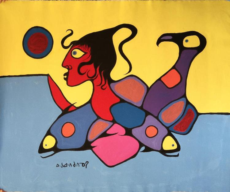 Norval Morrisseau (1932-2007-).'Untitled' (Man and Animals in Both Worlds) Signed in Cree Syllabics Copper Thunderbird. Signed and Dated. Acrylic on canvas. 45