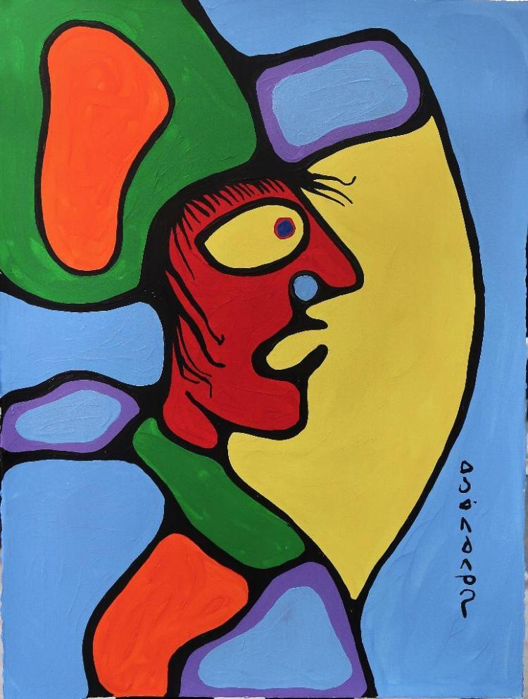 Norval Morrisseau (1932-2007) Untitled (Male Figure) Signed in Cree Syllabics Copper Thunderbird. Signed and Date in English. Acrylic on Paper. 30