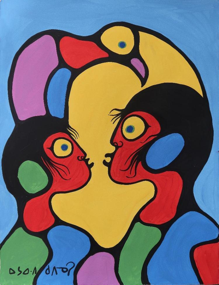 Norval Morrisseau (1932-2007) Untitled (Two figures & Bird in Harmony) Signed in Cree Syllabics Copper Thunderbird. Signed and Date in English. Acrylic on Paper. 30