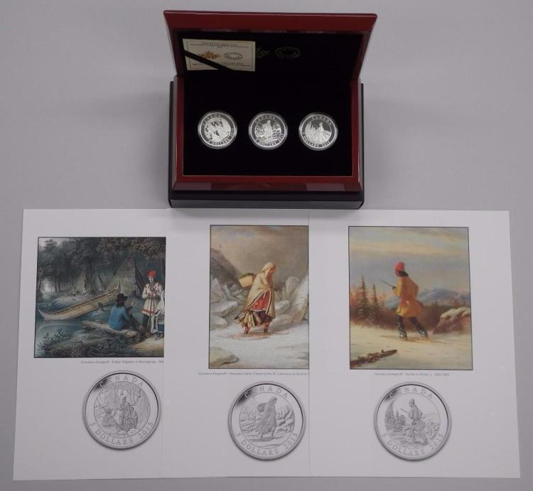 'Cornelius Krieghoff' 19th Century Artist 200th Anniversary Set. 3 Coin Set .9999 Fine Silver, Engraved Detail from 3 Images. Deluxe Mahogany Display Case, Giclee, C.O.A. LE. Estimate: $150-$250.00