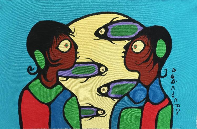 Norval Morrisseau (1932-2007-). Untitled (Grandchildren-keepers of life). Signed in Cree Syllabics Copper Thunderbird. Signed and Dated. Acrylic on canvas. 21.5