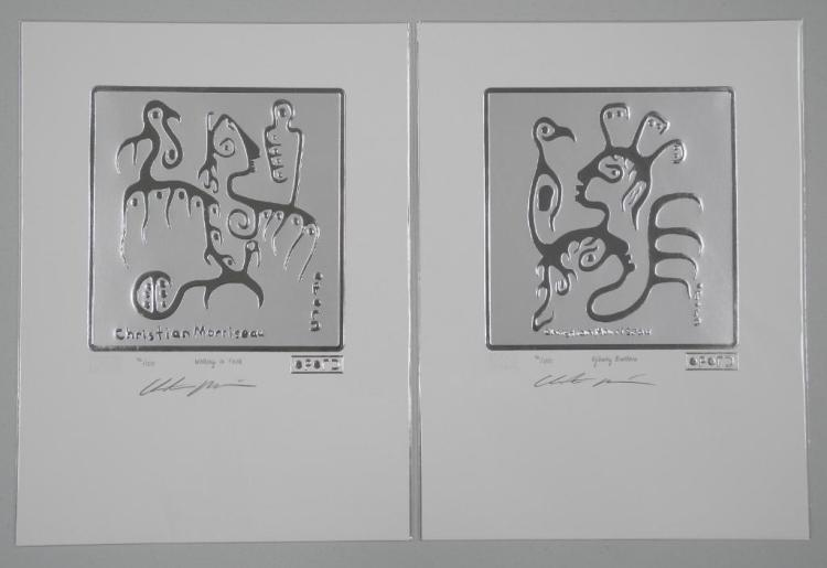 Pair - Christian Morrisseau (1969-) Sterling Silver Leaf Motif 'Ojibway Brothers' and 'Walking in Faith' LE/100 Worldwide hand Signed, Sealed with Cree Syllabics, with C.O.A. 9x12