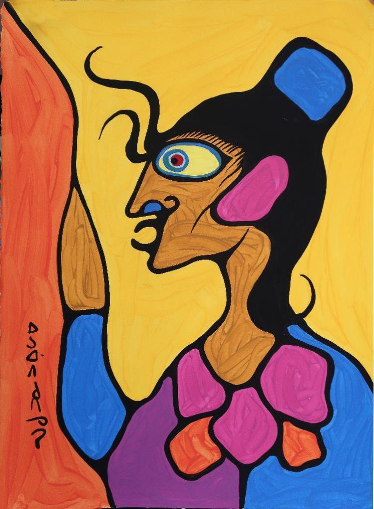 Norval Morrisseau (1932-2007) Untitled (Shaman) Signed in Cree Syllabics Copper Thunderbird. Signed and Date in English. Acrylic on Paper. 30