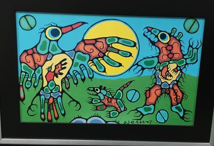 Norval Morrisseau (1931-2007) 'Thunderbird Focus Cave Bear' Plate Signed - Cree Syllabics. Giclee. Family Seal. Gallery Frame. Estimate: $350-$600.00