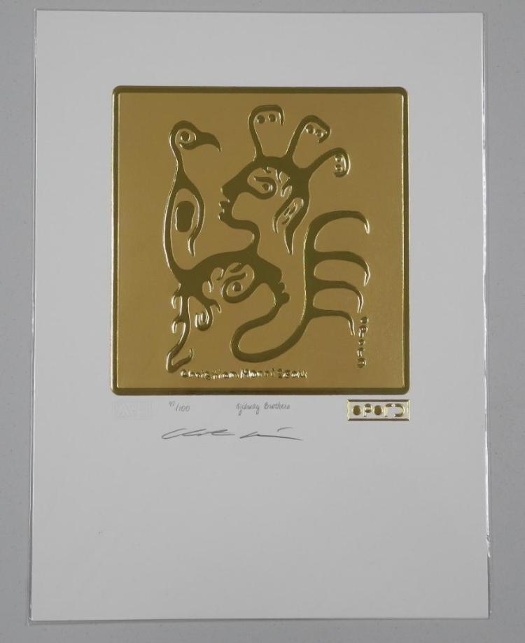 Christian Morrisseau (1969-) 24kt Gold Motif 'Ojibway Brothers' Hand Signed. LE / 100 Worldwide. Sealed with Raised 24kt Gold Cree Syllabic Signature. 9x12 unframed with C.O.A. Estimate: $150-$300.00