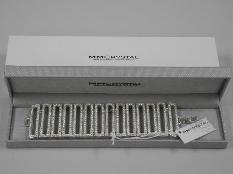 Ladies 'Atelier' MM Crystal White Gold Plated Bracelet. 560 Prong Set, Round Swarovski Elements = 34.00cts. SRRV: $1500.00