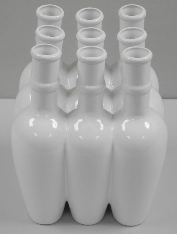 Fine Porcelain 'Centrepiece' 9-White Vases. 7x7x12
