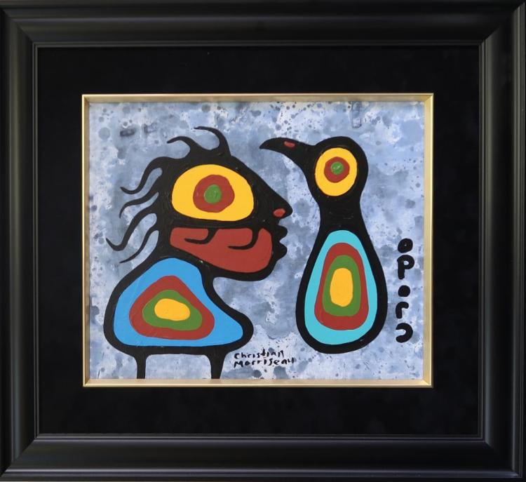 Christian Morrisseau (1969-) Title: 'Boy and Bird' Signed in Cree Syllabics. Signed and Dated in English au verso. Titled au verso. Acrylic on Board. Size: 16
