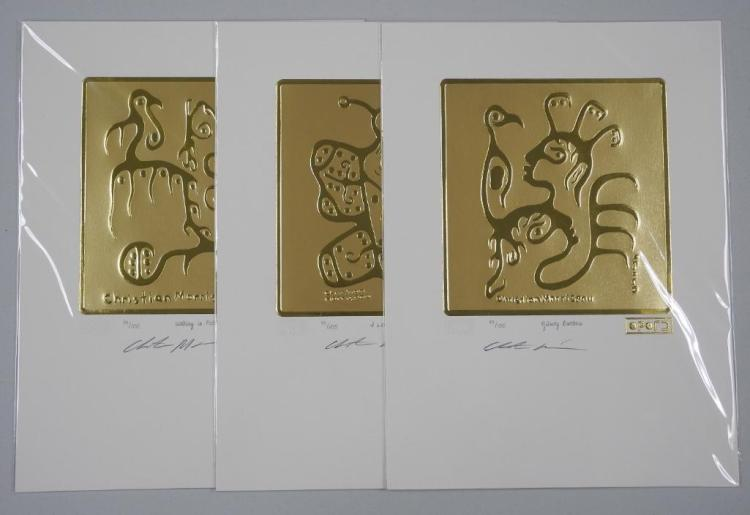 Pair - Christian Morrisseau (1969-) 3pc Set '24kt Gold Motif' Ojibway Brothers, I Love you Chimo, Walking in Faith, Match #93. Hand Signed and Sealed with 24kt Gold Cree Syllabics. LE/100 Worldwide. 9x12 unframed. Estimate: $300-$500.00