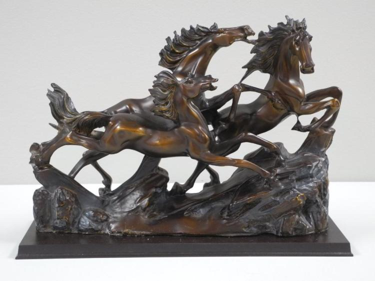 'Running Free' Horses on Wood Base. Estimate: $75-$125.00. 15