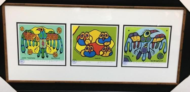 Norval Morrisseau (1931-2007) Trilogy Cameo Collection. Cree Signed in Plate. Family Seal. Gallery Frame. Estimate. $400-$600.00