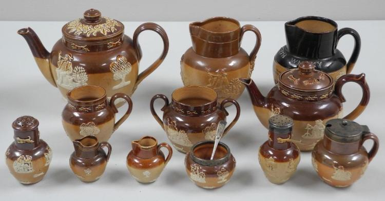Estate Lot - 12 - Royal Doulton Jugs, Teapots, Creamers, Salt and Pepper Shakers etc. 'Dewar's Perth Whisky Jug' Signed Doulton, Lambeth England # 1782, Various Numbers on each Jug. 1