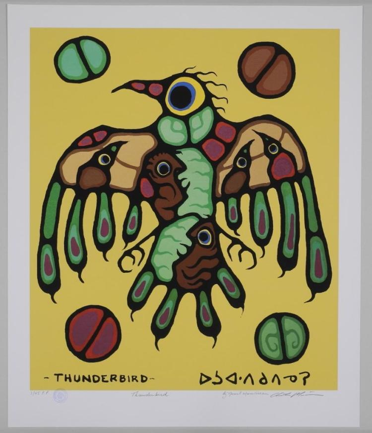 Norval Morrisseau (1931-2007) Giclee 'Thunderbird' 24x29