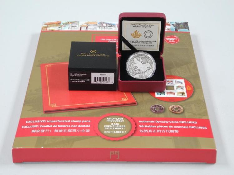 'Gates of Chinatown' Collection and RCM .9999 Fine Silver Maple of Longevity Hologram Coin LE with C.O.A. Estimate: $100-$150.00