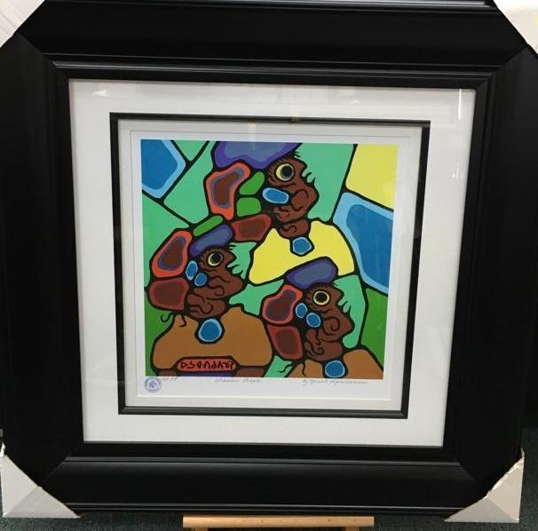 Norval Morrisseau (1931-2007) 'Shaman People' Plate Signed - Cree Syllabics. #1 Giclee. Family Seal. Gallery Frame. Estimate: $350-$400.00