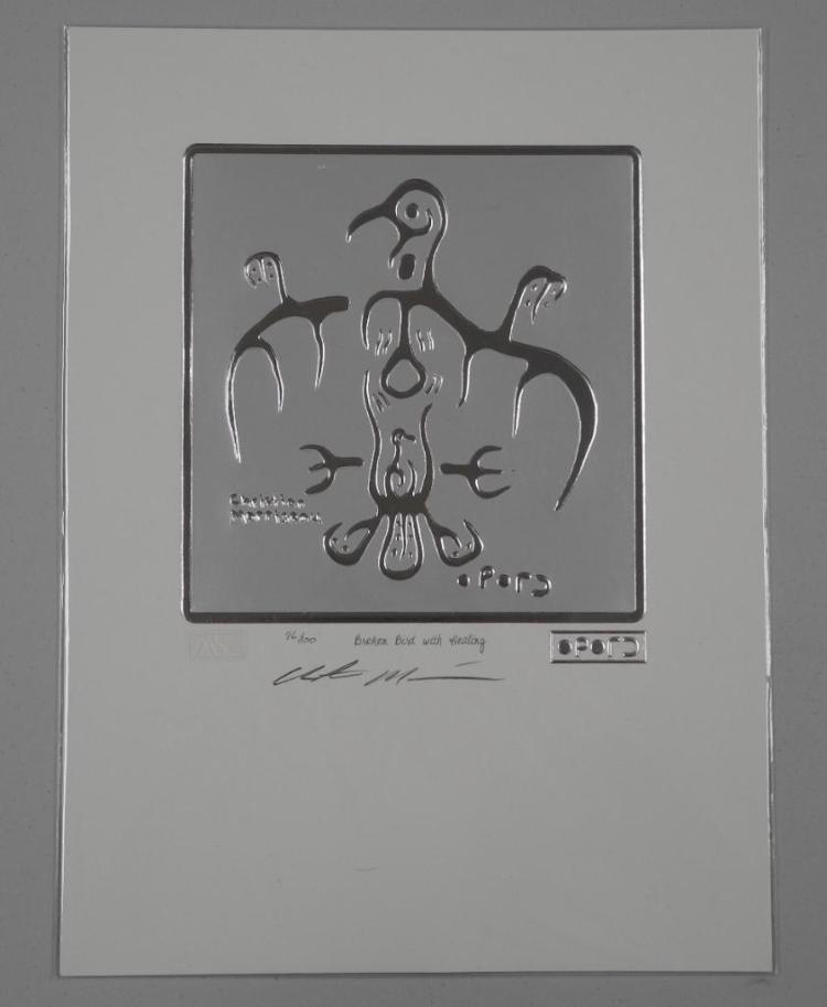 Pair - Christian Morrisseau (1969-) Sterling Silver Leaf Motif 'Broken Bird with Healing' Hand Signed and Raised Cree Syllabics. 9x12