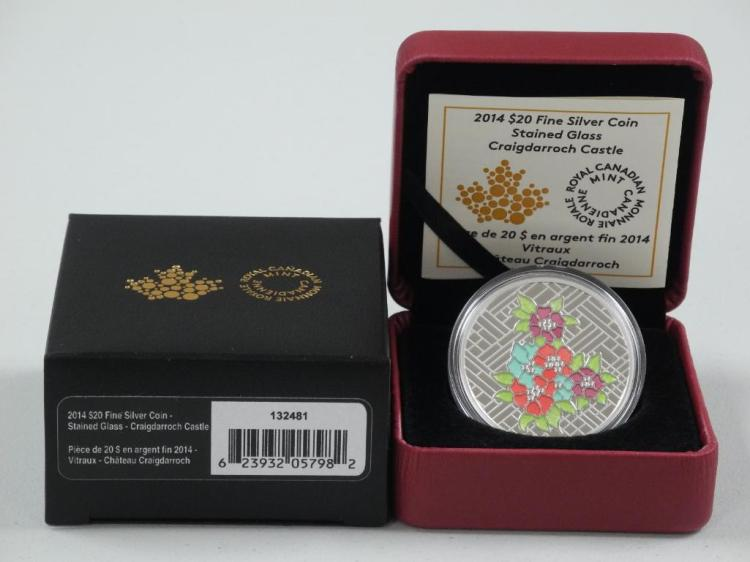 RCM 2014 - $20.00 Fine Silver 'Stained Glass Castle' LE with C.O.A. Estimate: $70-$130.00
